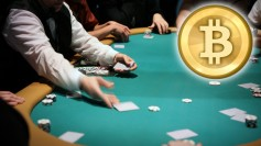 Poker table with Bitcoin symbol, symbolizing unlawful trade