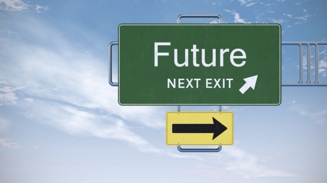 "Highway road sign: ""Future, Next Exit""."