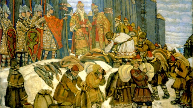 Poliudie by Nicholas Roerich: a painting of people paying tribute to the Kievian Rus