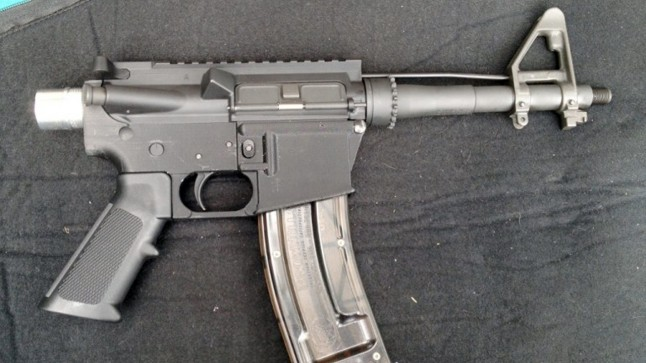 A .22 pistol made with a 3D-printed AR-15 lower receiver.