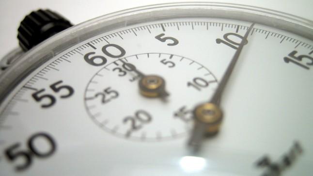 Stopwatch. Tick, tick, tick.
