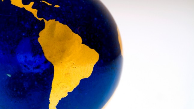 Close-up of stylized Earth with focus on Brazil