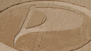 Crop circles in the form of a Pirate Party logo