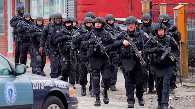 Heavily armed police squad on the streets of Boston