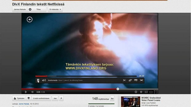 Screenshot from Netflix, where they had used subtitles from DivXFinland.org and kept the translation credits to DivXFinland.org in those subtitles, essentially advertising that they had copied the subtitles illegally.