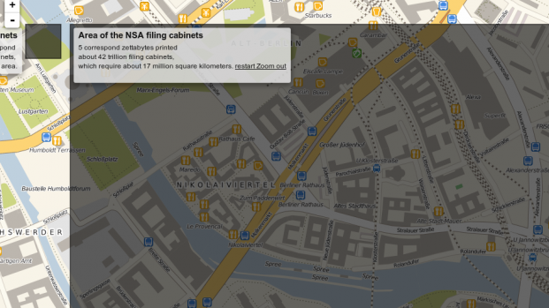 Hmm, ok. The NSA's building seems to be more than a couple of entire blocks in Berlin, and it just keeps going. This isn't easily centered in picture next to the Stasi building.