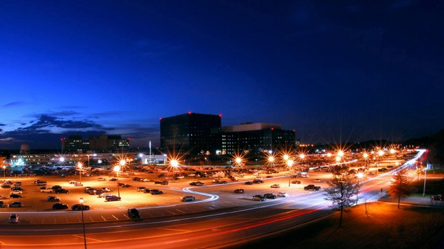 NSA Headquarters at night. Public domain image.