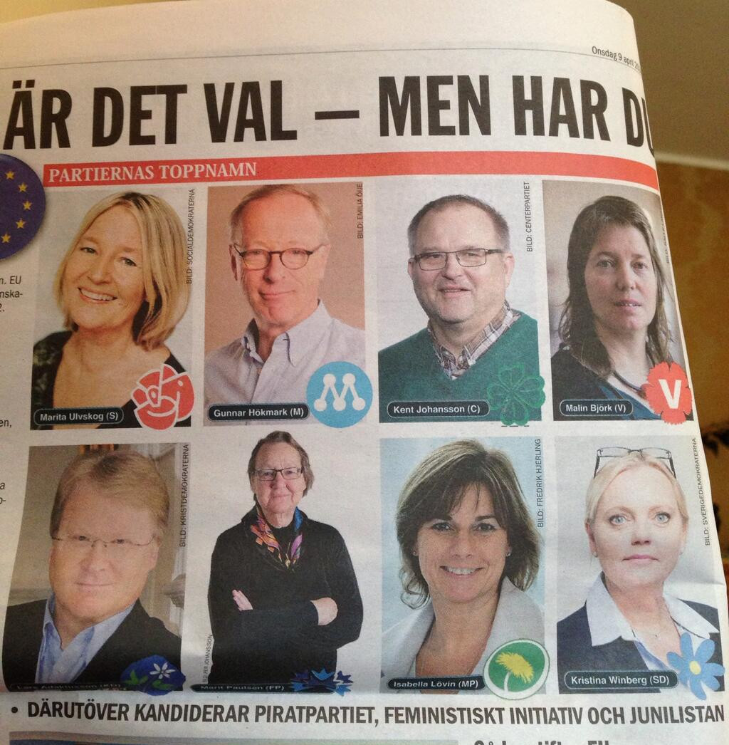 "The ETC newspaper presenting the ""top 8 candidates"" - seven defenders of the title, plus a challenger at bottom right. In small print, it notes ""also running: Pirate Party, Feminist Initiative, and June List"". The Pirate Party is not presented as a defender at all."