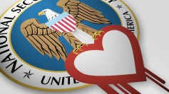 NSA Seal Holding the Heartbleed Logo