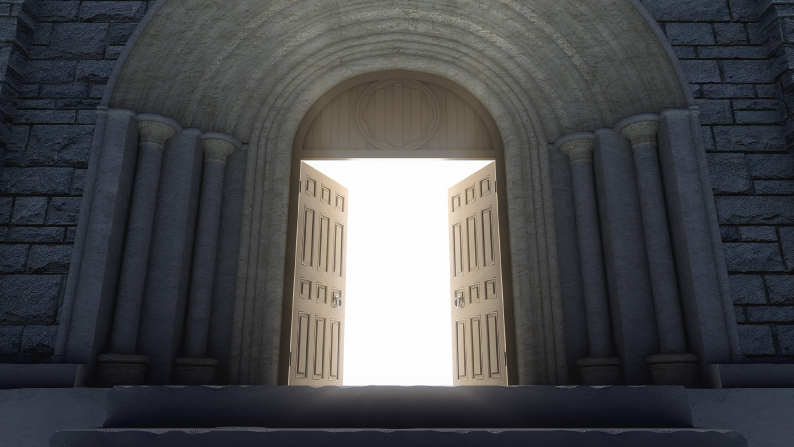 Massive door pairs opening to light beyond