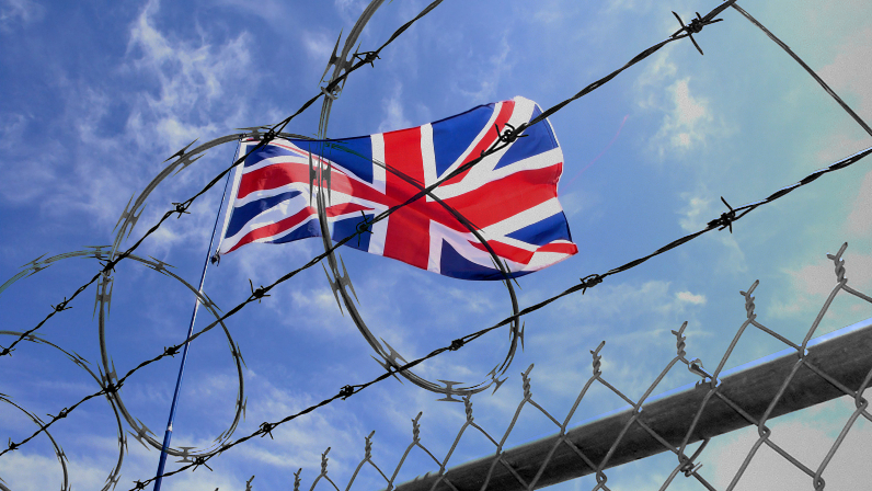 British flag behind barbed wire, fence and razor wire