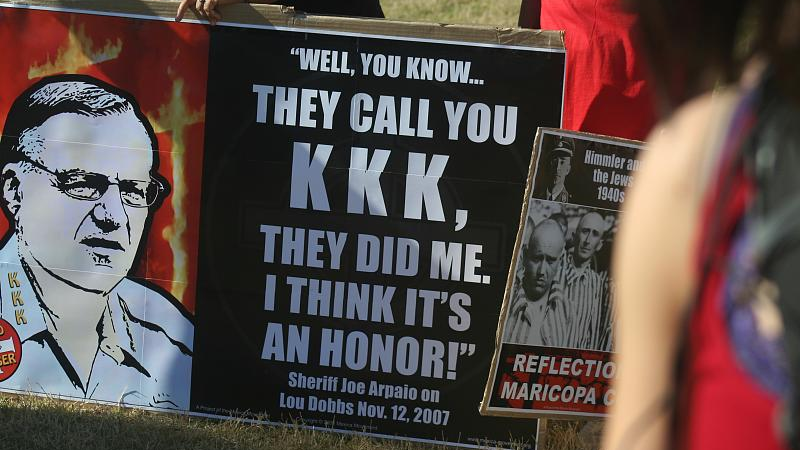 A poster of Joe Arpaio proud of being associated with the KKK. CC-BY-NC-ND by katerkate