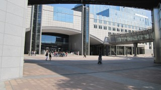 European parliament, main entrance from Place Luxembourg