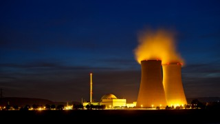 Nuclear power station, glowing in the dark