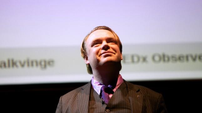 Falkvinge at TEDx Observer - photo by Anna Gordon