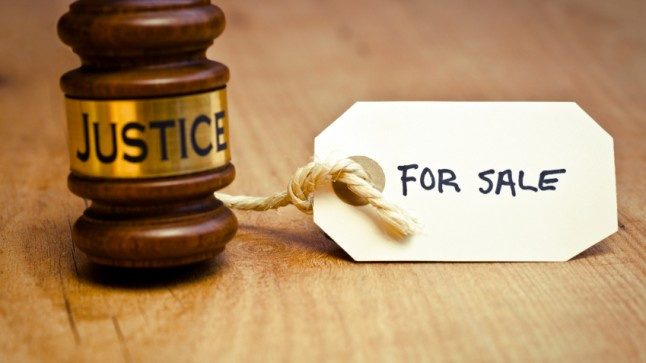 """Judge's gavel, marked """"For Sale"""""""