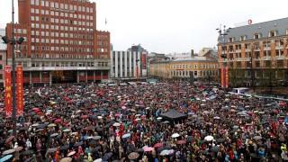 People in Oslo, singing in protest of Breivik Apr 26 2012