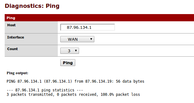 Screenshot from firewall showing uplink gateway can't be reached