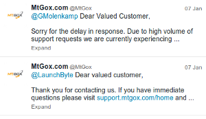 MtGox' twitter account as of noon on Feb 4. It's full of autoreplies, one month old.