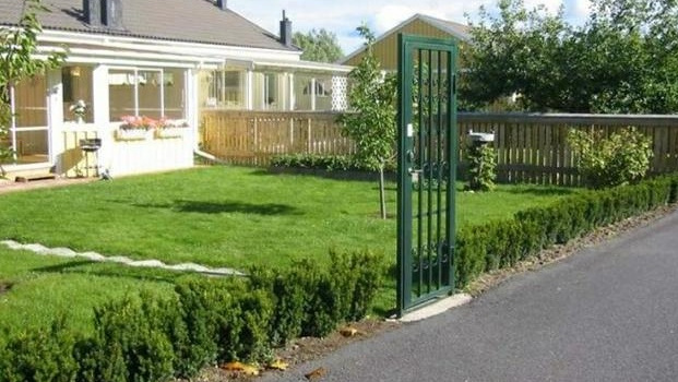 Strong metal gate surrounded by a thick hedge that doesn't even reach knee height, easily stepped over