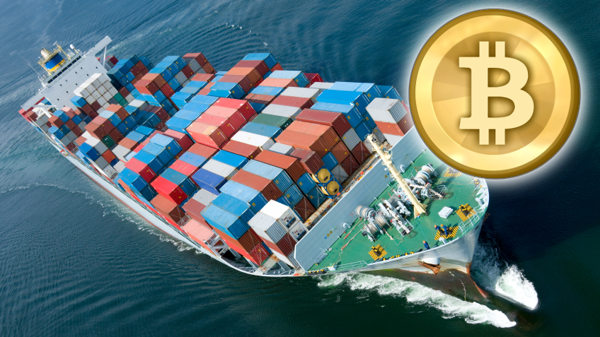 An aerial view of a container ship with Bitcoin logo superimposed.