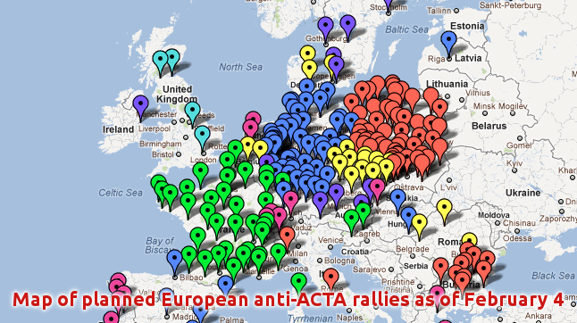 Map of planned freedom-of-speech rallies, against ACTA, in Europe