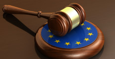 European Union laws, legal system and parliament concept with a 3d render of a gavel on a wooden desktop and the EU flag.