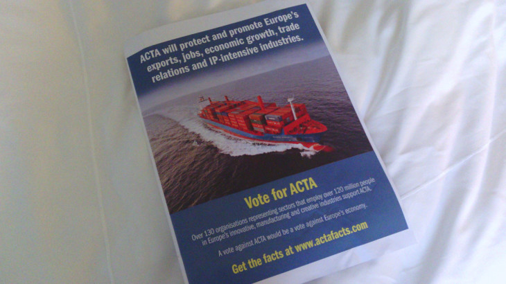 The pro-ACTA poster used in the European Parliament, itself a pirate copy.